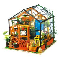 Wholesale Dollhouse Miniature Flowers - DIY Doll House Miniature Dollhouse With Furnitures Wooden Handmade House Toys Gift For Kids Kathy's Flower House DG104