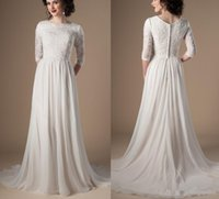 Wholesale plus size informal dresses resale online - Ivory Champagne Modest Wedding Dresses With Sleeves Beaded Lace A line Chiffon Boho Informal Bridal Gown Religious Wedding Gown
