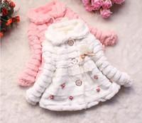 taklit kürk kaplı kışlık palto toptan satış-Ücretsiz kargo yeni Çocuk Dış Giyim Toddlers Kızlar Kış Coat Güzeller güzeli Bebek Faux Kürk Polar Astarlı Ceket Çocuklar Ceketler Mont