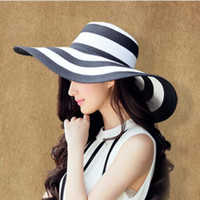 Wholesale travel straw hats - Women's Straw Sun Hats Wide Brim Black and White Striped Summer Hats Foldable Classic Sun Protection Wide Brimmed for Travelling and Holiday