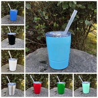 Wholesale Cast Stainless - 9oz Baseball wine glass Cups Double Wall Stainless Steel Cups Vehicle Beer Mug non-Vacuum mugs with straws lids Kids glass cups GGA225 20pcs