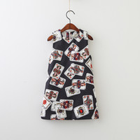 Wholesale American Poker - Girls Dress Poker Printed Sleeveless Summer Breathable Cool Skirt Vest Dresses Zipper Cotton A-line Skirt 3-8T