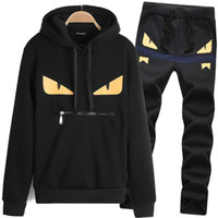 Wholesale mens sports track suits - Casual DesignerTracksuit Men Couple Luxury Track Suit Sport Black Polyester Cartoon Mens Hoodie With Long Sleeve Pullover Clothing M-3XL