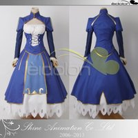 Wholesale saber fate zero cosplay for sale - Group buy Fate Zero Fate Night Saber Fighting Dress Cosplay Costume without armor