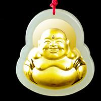 ingrosso collana fortunata del pendente della giada del buddha-Hetian giada pendente Maitreya lacMen Fortunato Amuleto ciondolo cinese giada gioielleria in pietra Buddha collana in oro regalo