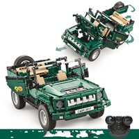 Wholesale rc 12 motor - Remote Control Car 2.4G Genuine Creative MOC Amry Series Set Children Educational Building Blocks Bricks RC Toy Gift 107jg V