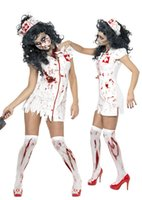 Wholesale Halloween Dress Nurse - 2017 New Halloween Cosplay Costumes Dress Nurse clothes Scary White Fanny Dress Up Party Costume For Women with Hat