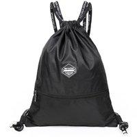 pequenos sacos de lona venda por atacado-Cordão de bolso com cordão mochila lona saco de estudante do sexo masculino simples e leve casual esportes saco de compras pequena mochila