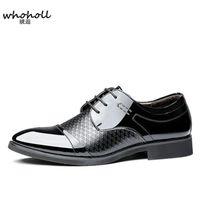 ingrosso marrone scarpe formali nuove-2018 Spring new Men Dress Shoes Pointed Toe Lace Up Uomo Affari Brown Scarpe oxford in pelle nera intagliata Oxford formale italiana
