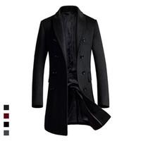 overcoat design toptan satış-Uzun tasarım yeni stil yün ceket erkekler kısın yaka kruvaze yün trençkotlar erkek ince palto 2018 sonbahar kış