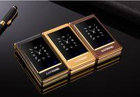 ingrosso telefoni di grande schermo-Luxury Flip 3.0 pollici doppio touch screen doppia SIM card MP3 FM oro cellulare grande tastiera lettere altoparlante cellulare ad alta voce cellulare