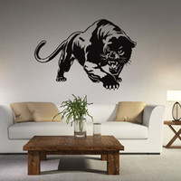 Wholesale decorative 3d wall art stickers - Leopard Wall Sticker Living Room Anime Poster Decorative Wall Decal Home Decoration Wall Art Catamount Wallpaper