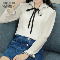 Wholesale white blouse peter pan collar - 2018 new spring long sleeved blouses women tops sweet peter pan collar white bow casual chiffon shirts women clothing D528 30