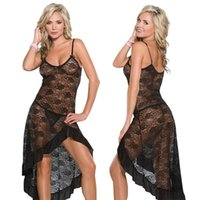 Wholesale long sexy plus size lingerie - Summer Women Sexy Black Red Erotic Lingerie Red Sleepwear Nightgown Pajamas Sets Long Dressing Gown Plus Size S-6XL