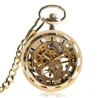 Wholesale Golden Chain Watches - Golden Transparent Skeleton Mechanical Hand Wind Pocket Watch Fob Chain Necklace Luxury Men Open Face Steampunk Gifts