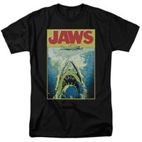 vintage universal venda por atacado-Trevco Jaws Movie Poster Retro Vintage Clássico Universal Studios dos homens Adulto Gráfico Tee Camiseta 100% Algodão T Camisas Para Homens