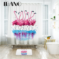 Wholesale plastic for floor mats for sale - Group buy Bathroom Flamingo Shower Curtain Waterproof Polyester Fabric Bath Curtain for The Bathroom with Plastic Hooks Floor Mat
