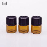 Wholesale offset mini - Amber 1 4 dram Glass Vials 1ml Mini Glass Bottle With Dropper , Essential Oil Glass Bottles With Black Screw Cap Wholesale