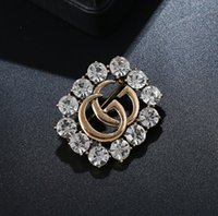 Wholesale selling brooches resale online - letter pin new hot selling fashionable exquisite hollowed out full drill brooch