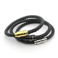 Wholesale mens weave bracelet - 2018 Mens Leather Bracelets Woven Antique mens black Charm Bracelets Pulseira Masculina Magnet Man bangles fashion MONT Jewelry