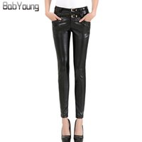 1449ddb16b1f3 BabYoung 2017 Winter Women Faux Leather Pants Casual Skinny PU Leather  Pants Trousers Ladies Pencil Femme Pantalones Mujer. by genguo