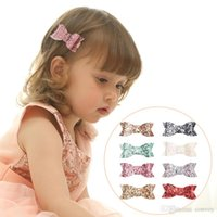 Wholesale wholesale baby hairclips - Baby Barrettes hairclips Glittering large bowknot hairclips for Girls 8 colors Hair Accessories Kids Hairpins Girls Headdress KFJ211