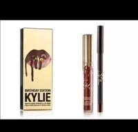 Wholesale Golden Liner - Best Quality Kylie Cosmetics Birthday Edition Leo Lip Kit Golden Box Kylie Jenner Matte Liquid Lipstick+Pencil Lip Liner In Stock Free Ship
