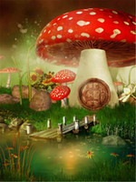 fotos de rio al por mayor-Fantasy Fairy Land Red Mushroom House Telón de fondo para la fotografía Impreso River Bridge de madera Niños Fiesta de cumpleaños Photo Backgrounds