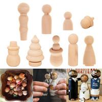набор пегаса оптовых-Набор из 10 незавершенных деревянные Peg куклы DIY ручная роспись материал дерево люди Семейный портрет DIY Kit 6 форма