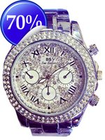 Wholesale Ladies Large Dial Watch - Ladies Luxury Fashion steel Watches men Crystal Rhinestone Reloj woman Watch Sparkling Shining Large Dial Watch Brand watches