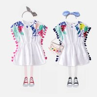 Wholesale Kids Embroidered T Shirts - new t shirt 2018 INS hot styles New summer girl kids cute Pure cotton embroidered blouse kids elegant high quality Tassel t shirt 2 colors
