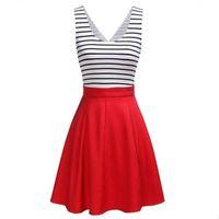 avrupa elbisesi kıyafetleri toptan satış-Şerit Baskı elbise Yaz Avrupa Rusya Trendi Kadın lady kırmızı mavi Scoop Boyun Pileli kolsuz bel patchwork Pileli Balo