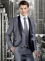 gri ustura stilleri toptan satış-Yeni Stil Gümüş Gri 3 Parça Suit Erkekler Düğün Smokin Moda Damat Smokin Yüksek Kalite Erkekler Akşam Balo Blazer (Ceket + Pantolon + Kravat + Yelek) 1262