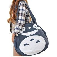 Wholesale Totoro Canvas - 2018 Japan Funny Totoro Bag Cute Women Over Shoulder bags Large Ladies Canvas Cartoon Preppy School Bags for Teenage Girls L989
