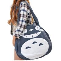 Wholesale Japan School Bags - 2018 Japan Funny Totoro Bag Cute Women Over Shoulder bags Large Ladies Canvas Cartoon Preppy School Bags for Teenage Girls L989
