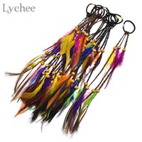 Wholesale feather hair extension beads resale online - Lychee Boho dreadlock Beads Colorful Feather Elastic Hair Ring Hair Extension Faux Braids Hairwear Jewelry for Men Women