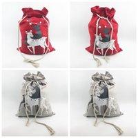 lienzos de navidad al por mayor-Bolsas de regalo de Navidad Renos de Santa Claus de impresión Bolsa de lona Bolsa de cordón Bolsa de juguetes de caramelo Saco bolsa de almacenamiento GGA873