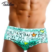 ingrosso pugili di bikini da uomo-Taddlee Marca Europa Taglia Uomo Costumi da bagno Gay Uomo Costumi da bagno Nuoto Bikini Slip Bordo Pantaloncini da surf Uomo 'S Swim Boxer Trunks