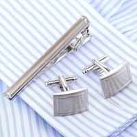 Wholesale Bar Cufflinks - VAGULA Stylish Cufflinks Tie Clip Set Tie Bar Quality Cuff Links Tie Pin Set cuffs gemelos necktie Men Jewelry