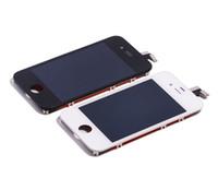 iphone 4s branco lcd digitalizador tela venda por atacado-Alta qualidade iphone 4s display lcd touch screen digitador assembléia completa peças de reposição lote preto branco frete grátis