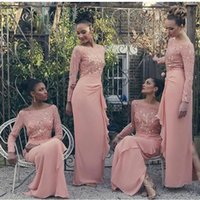 Wholesale Long Sleeve Wedding Dresses Online - Sexy Coral Long Chiffon Bridesmaids' Dresses With Lace Sleeve Sheath Long Sleeve Wedding Party Dress Bridesmaid Dresses Online Custom Made