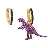 dinozor küpeleri toptan satış-925 ayar siliver sevimli hayvan dinozor dünya cazibesi dangle küpe Altın kaplama avrupa zerafet muhteşem kadınlar bayanlar hediye takı