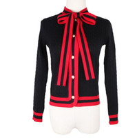 Wholesale Cardigan Wool - Free Shipping 2017 Brand Same Style Sweaters Cardigan Regular Long Sleeve Crew Neck Red Black Bow Women Clothes 5