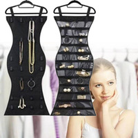 Wholesale jewelry hanging storage bag - Mermaid Shape Hanging Storage pouch black Double Sides 22 Pockets Jewelry Holder Bag Necklace Ring Bracelet Earring Organizer Closet FFA527