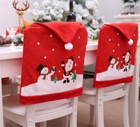 decoration snowman achat en gros de-Bonhomme de neige cap chaise couvre la décoration de table de dîner de Noël pour la maison couverture couverture arrière decoracion