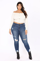 Wholesale 4xl Jeans For Women - Sexy Fashion New Style Women High Waist Jeans Full Length Ripped Jeans Skinny For Womens Jeans Slim Pants