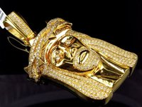 Wholesale Solid Platinum Necklace - Solid 10K Yellow Gold Jesus Face Piece VS2-SI1 3 Inch Diamond Pendant 11.0ct.