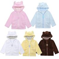 Wholesale infant girl cardigans - Infant Bear Coats Bear Ears Coral velvet Jackets Baby Clothing Winter Warm Outwear Tops children Cardigan Hoodie C4585