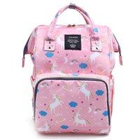 большие розовые подгузники оптовых-Розовый единорог мама рюкзаки подгузники сумки Единорог пеленки сумки рюкзак материнства большой емкости открытый дорожные сумки для 4 цветов
