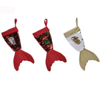 Wholesale indoor christmas decorations for sale - 39 cm Mermaid Sequins Christmas Tree Ornaments Stockings Decoration Xmas Hanging Socks Bling Gifts Bag Mermaid Tail Sock LJJK1082